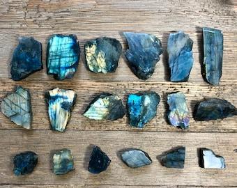 1 Raw Labradorite Crystal, Labradorite slab polished, Healing Crystal, Crystals for Healing, Tumbled Stones, Polished rocks, Crystals