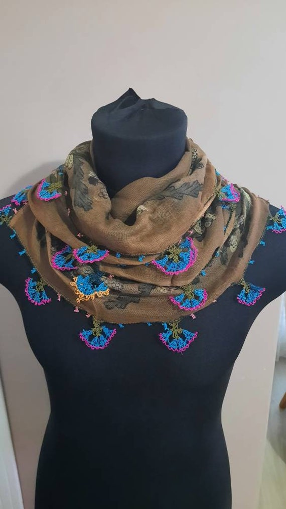 Antique scarf, anatolian silk embrodery ,antique t