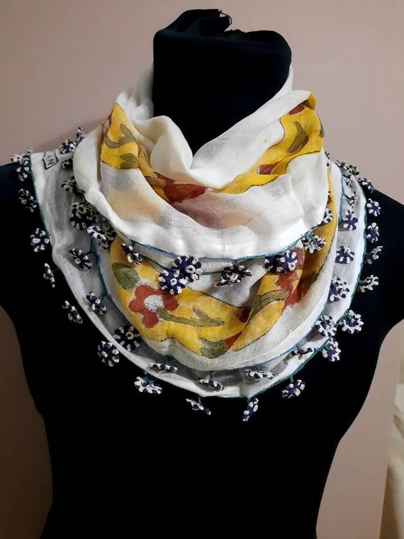 Turkish scarf  ,silk embroidery ,embroidery