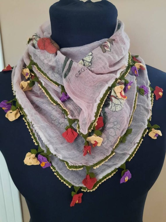 Scarf , Antique scarf anatolian silk embrodery