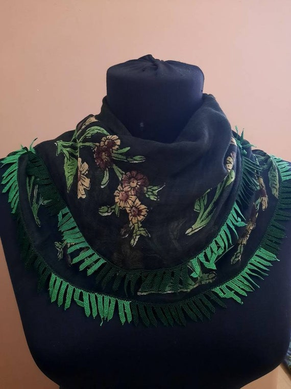 Scarf antique scarf embroidery scarf