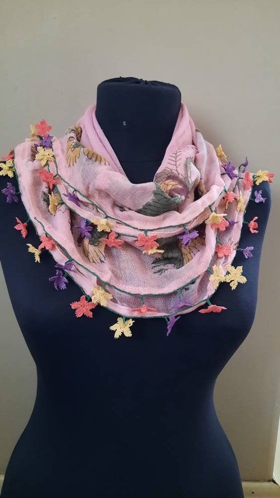 Antique textile ,scarf ,silk embroidery