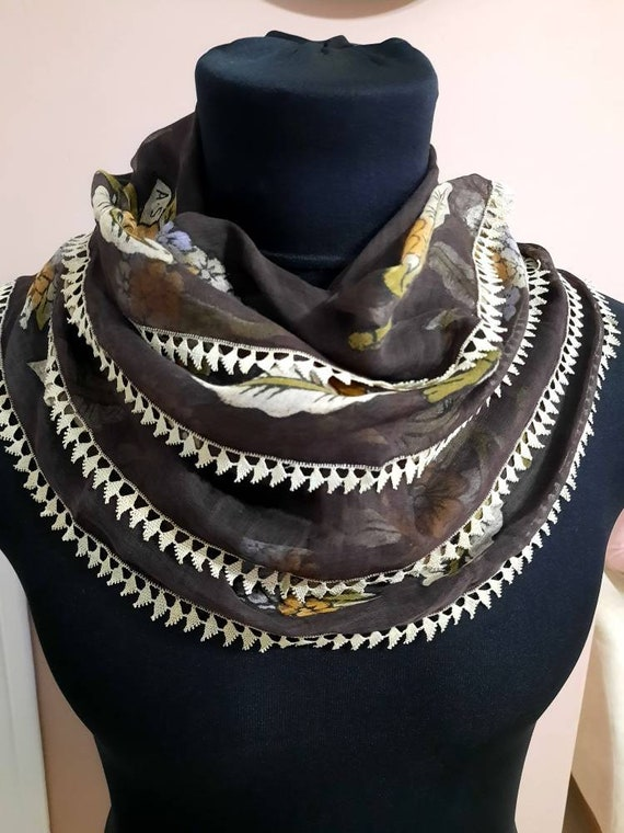 Antique scarf anatolian silk embrodery