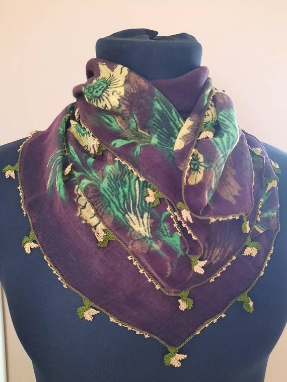 Antique scarf , anatolian silk embrodery ,blocprin