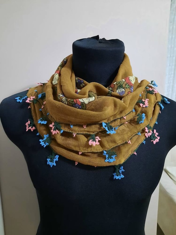 Scarf ,Antique scarf , anatolian silk embrodery