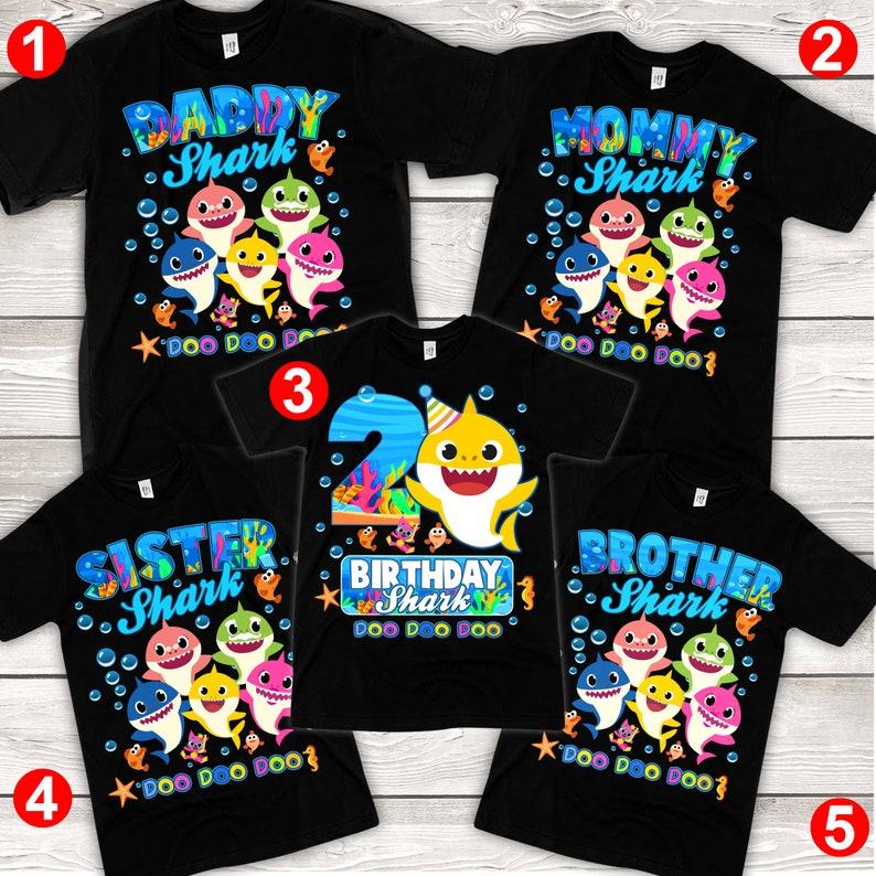 2. Personalized Baby Shark Birthday Shirt