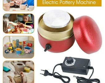 TTLIFE Mini Pottery Wheel Pottery Forming Machine Electric Pottery Wheel DIY Clay Tool with Tray for Adults Kids Ceramics Art