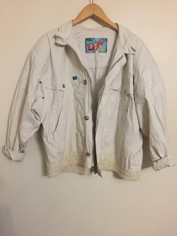 linen jacket, flaxen jacket, vintage jacket 80s, v