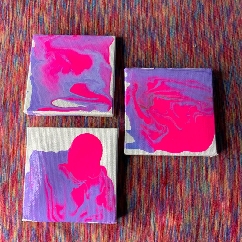 dreamy neon escape Tiny 3x3 acrylic pour on stretched canvas Includes free stickers abstract art paint pour
