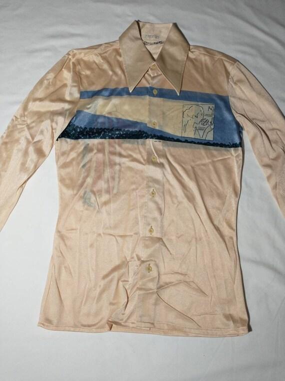 Vintage 70/'s Nik Nik Disco Button Down Shirt