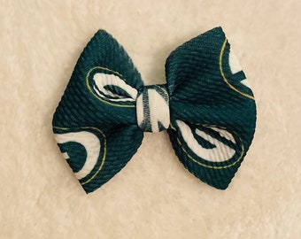 Green Bay Packers Satin Hair Bow with French Barrette Clip GB7-001 GB7-002 GB7-003 GB7-005