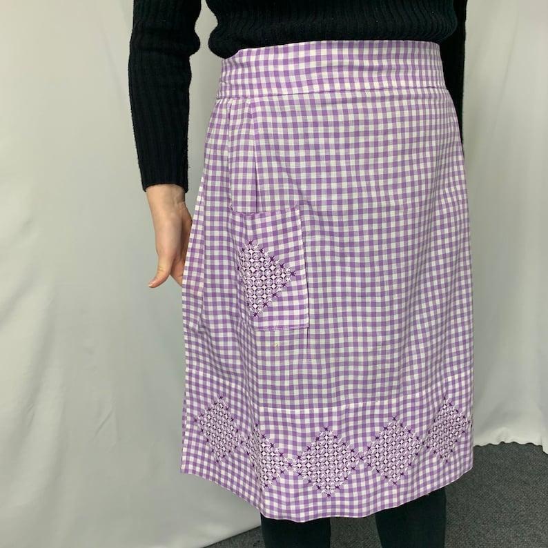 Vintage Purple Gingham Apron
