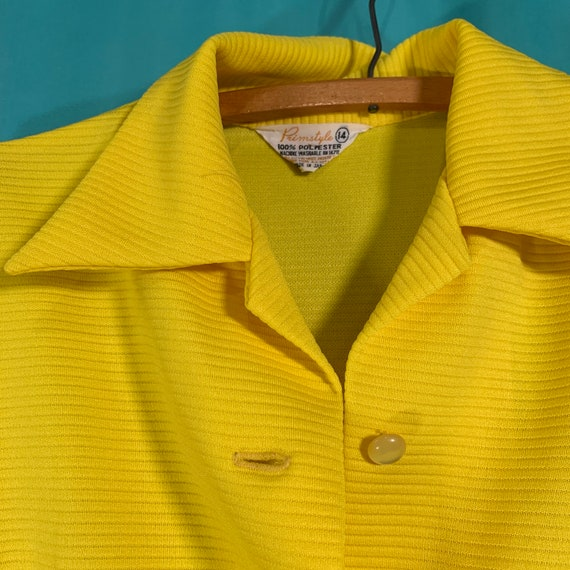 Primstyle Vintage bright yellow 1960s style polye… - image 3