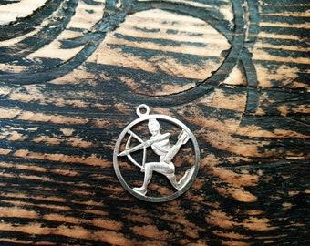 Sagittarius silver charm / pendant , made of 925 silver, realistic presentation of an archer, Zodiac sign,