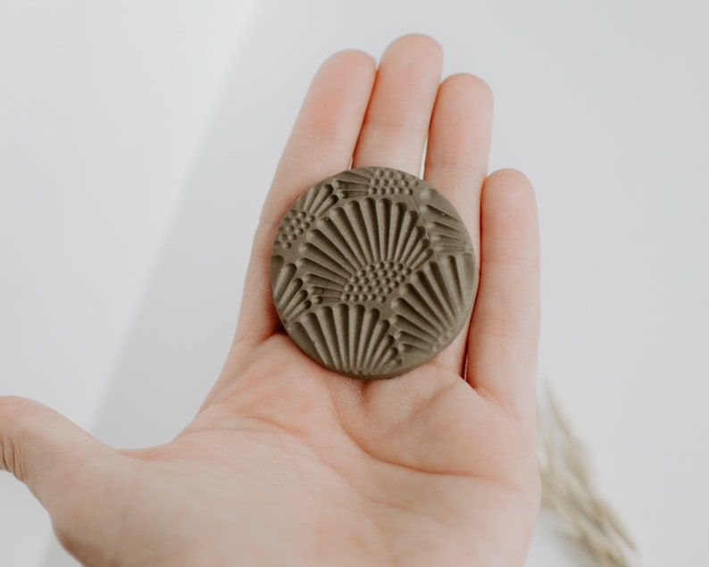 Simple Gift Idea Neutral Clay Phone Stand Phone Accessories Modern Earth Tones Minimal Phone Grip Raw Umber Art Deco Fan Pattern