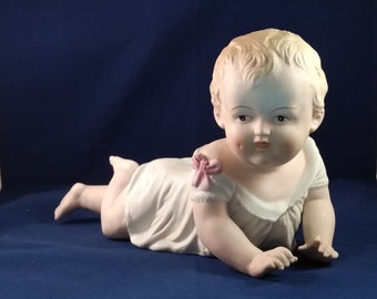 Antique set figurines biscuit porcelain piano baby