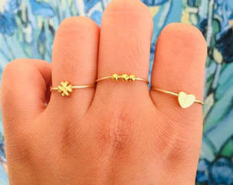 Anxiety Gold Ring, Anti Stress beads Adjustable, 18k gold plated bead ring,Finger Picking Relief, Stress relieving, gold beads ring,