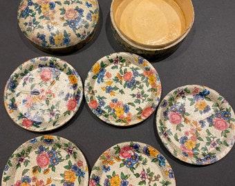 Round Drink Coaster Foil occupied Japan Retro Highmount Alcohol Proof Chintz Vintage Barware Fibreglass Original Box 7 Coasters