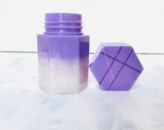 Minimalist Holographic Geometric Line Shimmer Handmade Jar