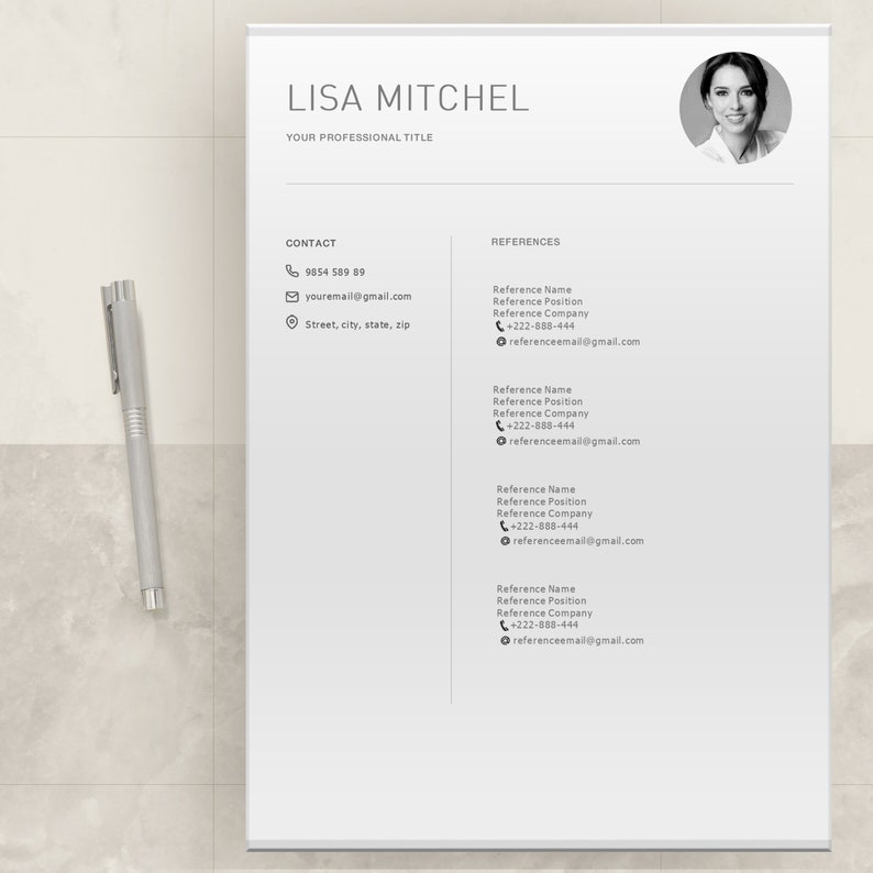 Resume template Word and Pages for PC and Mac Modern Minimal Minimalist Clean Professional CV Resume templates with photo