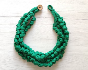 Emerald green knot fabric necklace textile chunky choker necklace for women, cloth jewelry unique gift for her
