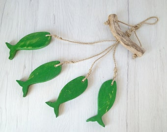 Fish mobile unique wind chimes for outdoors, green hanging wooden fish driftwood wall art summer gift for men