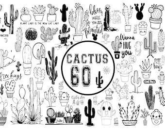 CACTUS SVG BUNDLE, cactus silhouette,cactus vector, plants svg, cactus Cricut design