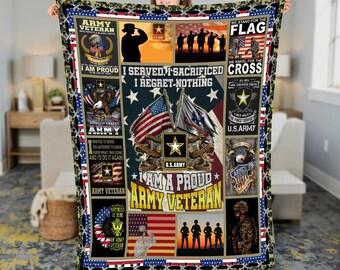 US Army Veteran Flag Fleece Blanket Quilt