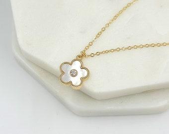Minimalist pendant. Mother pearl pendant White Flower pendant