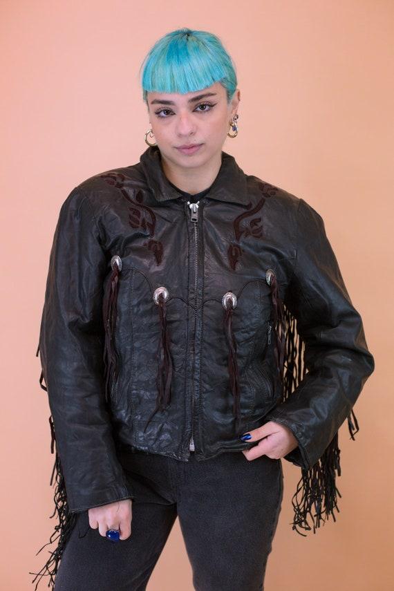 Vintage Fringed Leather Biker Jacket