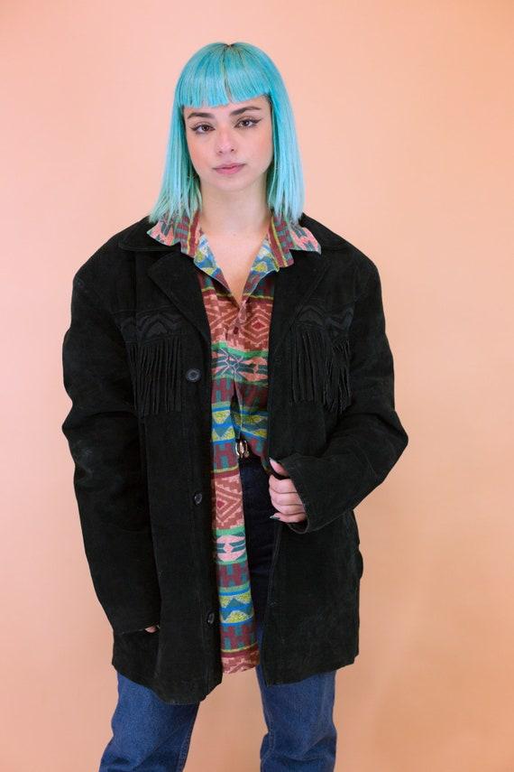 Midnight Black Suede Fringe Jacket