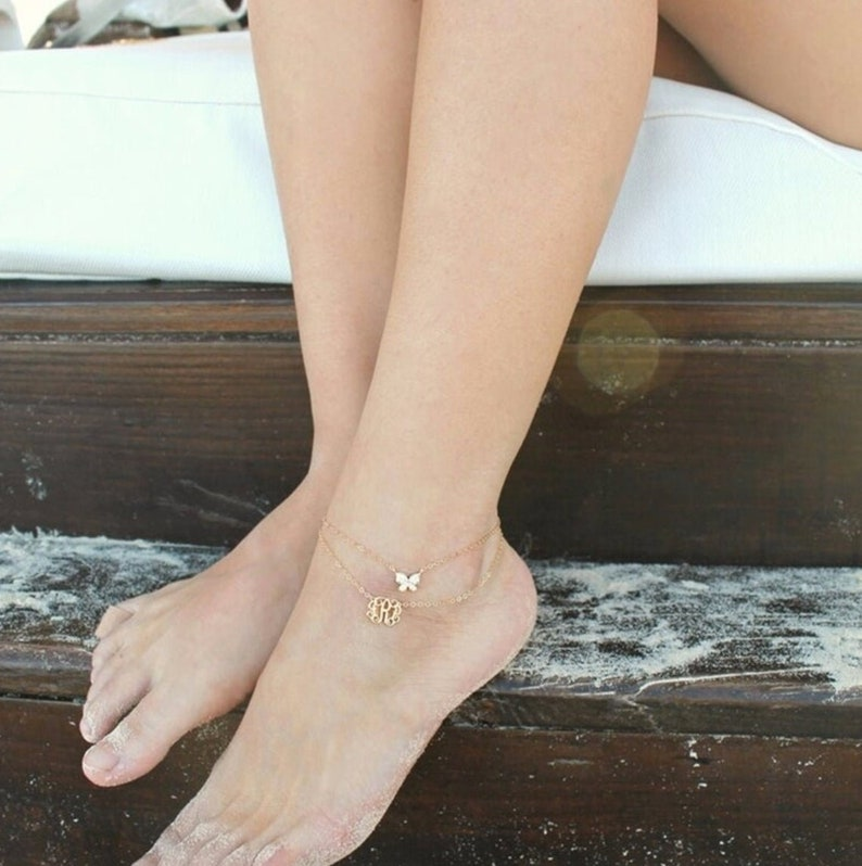 Beach Jewelry Personalized Monogram Anklet Dainty Custom Initials Plated Anklet Girlfriend Gift Mother Gift Initials Anklet