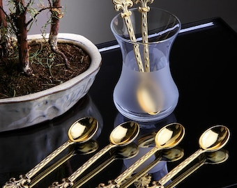 Demitasse Beaded Detailed Spoons (Set of 6) GOLD