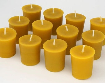 100% Pure & Natural Beeswax Votive Candles | Bulk 6, 9, 12, 15, 20, or 24 Pack