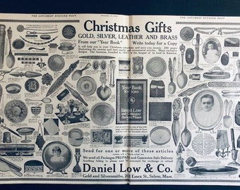 Vintage 1909 Daniel Low & Co. Gold and Silversmith Magazine Advertisement Christmas Holiday Scrapbooking, Crafts, Great For Framing
