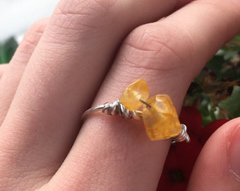 Natural Stone Sunny Ring Crystal Ring Light Stone Jewelry Gemstone Jewelry Sterling Silver Ring Bohemian Yellow Agate Silver Ring
