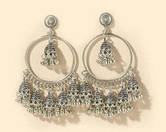 Jhumka silver gold Indian Asian wedding party birthday gift earrings Bell Diamond Crystal Pearl Stud Hoop Boho Earring