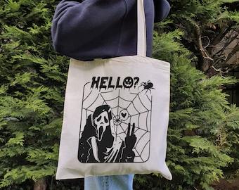 Ghostface Tote Bag, No You Hang Up First Tote Bag, Halloween Tote Bag, Canvas Tote Bag.