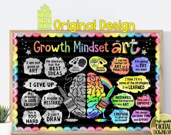 Growth Mindset Poster Art Classroom Poster Classroom Decor Art Classroom Wall Art Educational Poster Back To School Poster Elementary Poster