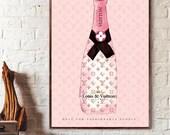 Louis Vuitton Champagne Poster print Wall Art Fashion girl Wall Art Glam Wall Art - Champagne Fashion poster No Frame