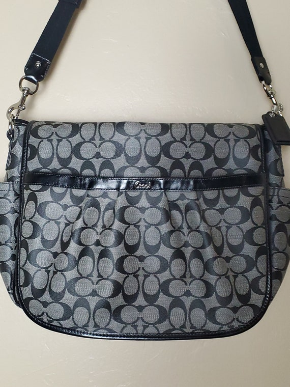 Vintage Coach Black/Pink/Gray Canvas PVC  Messenge