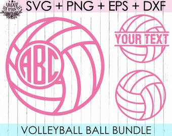 Cricut Cdr Vector Files for Silhouette Png File Ai Eps Volleyball Split Monogram Svg Cutting Plotter Dxf