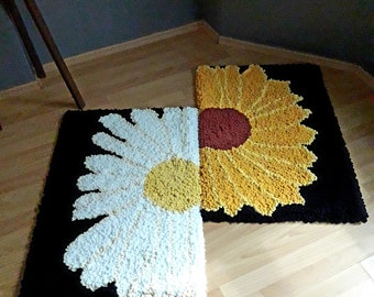 Knitted gifts Animals rug Black and white Pattern hand crocheted Crochet knitted mats Paw decor Mother/'s day gift