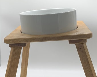 Modern dog bowl, cat bowl feeding station with porcelain bowl, food bar, food bowl station made of oak - as special as your pet