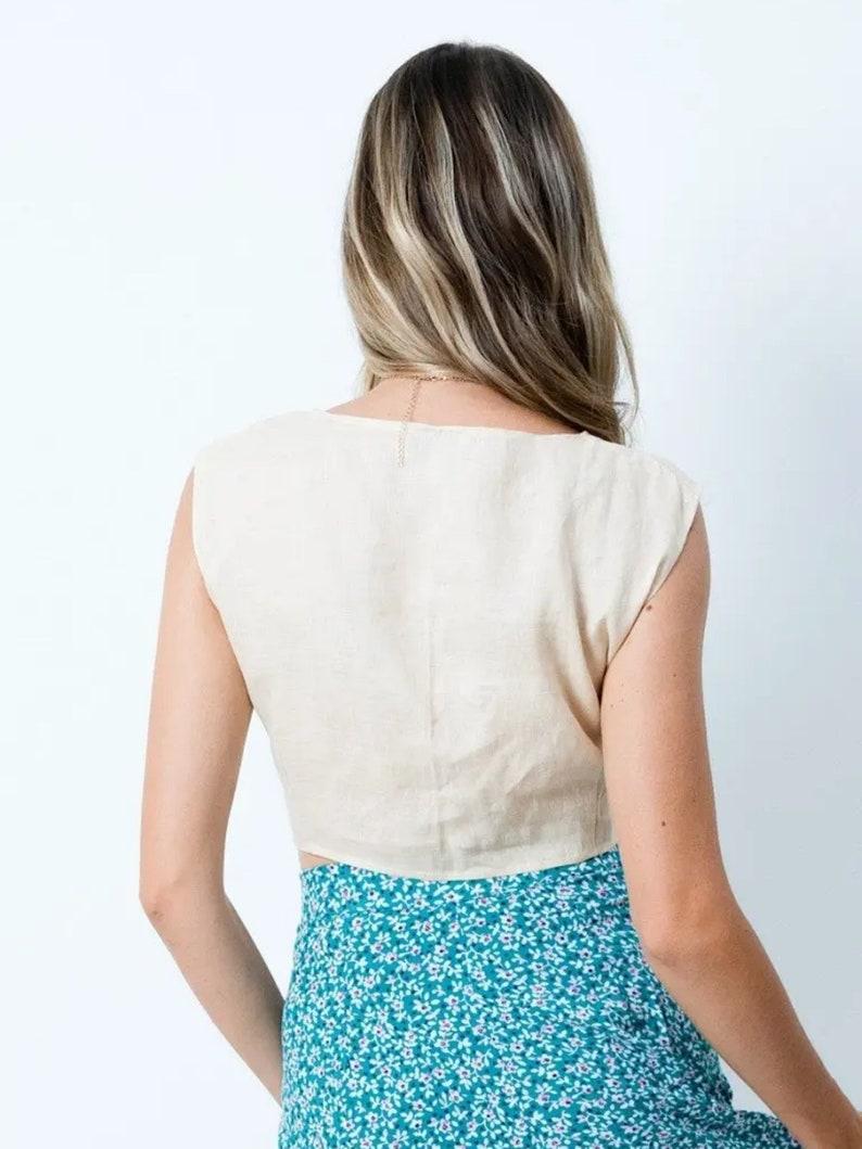 Nina Linen Top \u2013 Cream