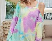 Tie Dye Off Shoulder Cold Shoulder Loose Fit Women Top Sweatshirt Clearance, On Sale