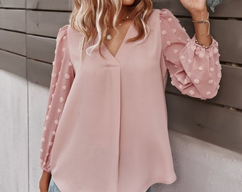 V Neck Solid Loose Long Puff Sheer Sleeve Silk Chiffon Women Blouse Top, Elegant, Office, Gift for Her