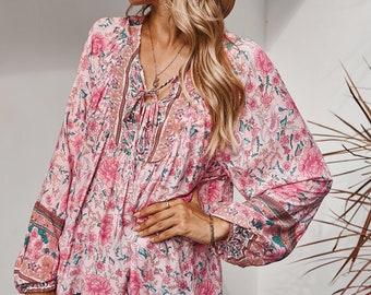 Floral Boho V Neck Loose Long Sleeve Elastic Cuff Sleeves Women Tunic Blouse Top Summer Gypsy Hippie Bohemian Flower Shirt