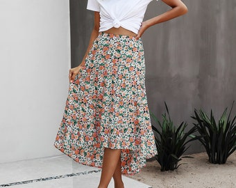 WOMENS LADIES BOHO FLORAL EMBROIDERED GYPSY FRILLED HEM SKIRT FREE SIZE UP TO 16