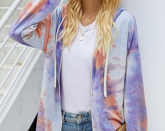 Women's Tie Dye Full Zip Hoodie Sweatshirt Jacket Outwear